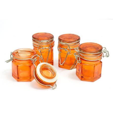 Lot 4 mini-pots en verre avec joint d'étanchéité